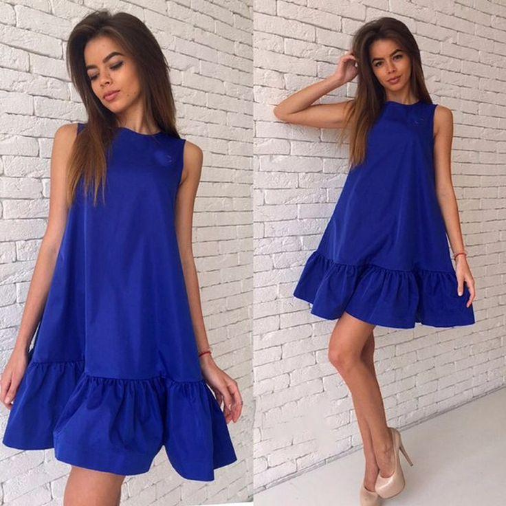 女性のドレスの新しい2016年秋の夏のノースリーブラウンドネックカジュアルプラスサイズのビーチフリルドレス-でAliexpress.com上の女性の衣料品からドレス| アリババグループ