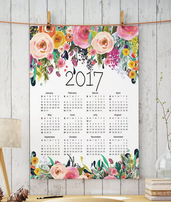 Calendrier floral calendrier 2017 grand par TwoBrushesDesigns