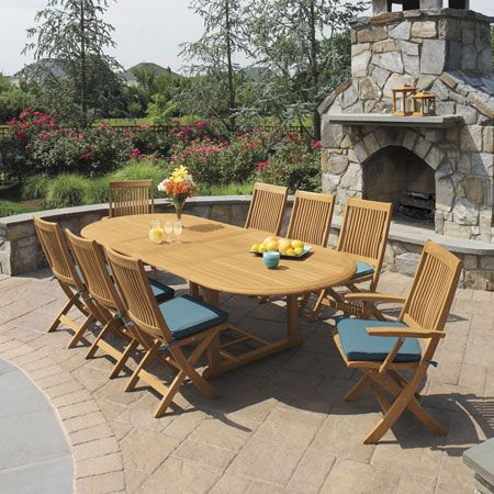 Harborside extension table (extended) and Harborside folding chairs with Mediterranean cushions.