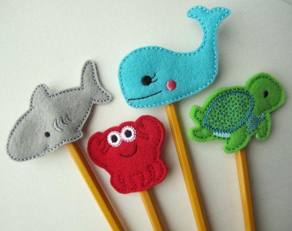 Ocean Animal Pencil Topper Set Shark crab Whale Sea