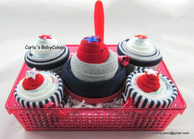 Diaper Cupcake Gift Set | New baby gift basket | Baby Shower Gift | New Mom Gift | Baby Shower Basket | New baby gift | Diaper cupcakes gift by MsCarlasBabyCakes on Etsy