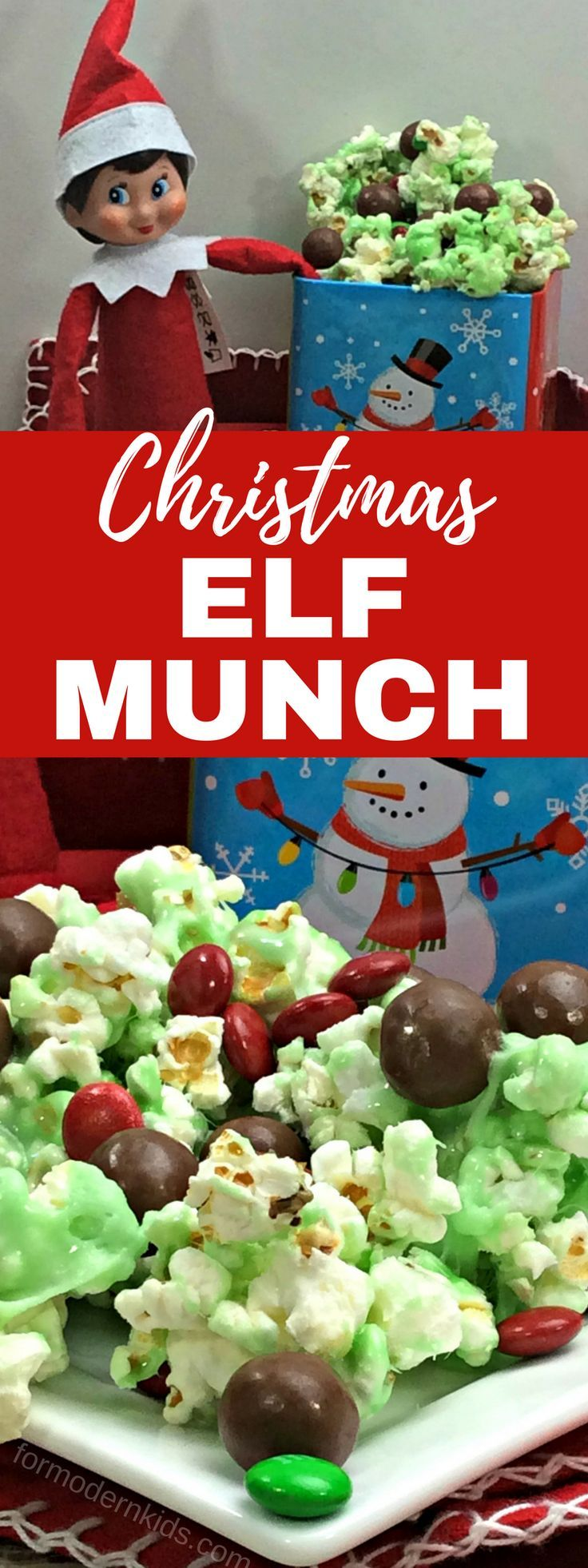 Need some good Elf on the Shelf ideas? Be ready for this Christmas season with this fun Elf on the Shelf recipe. We call it Elf Munch and not only will you be able to snack on it while you hide the elf this year, but it can also be used as a prop for the elf! #ElfOnTheShelfIdeas #Christmas #ElfOnTheShelf #ChristmasRecipes