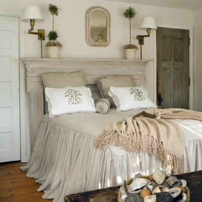 Vintage bedroom, is that an old mantle?  Love this!