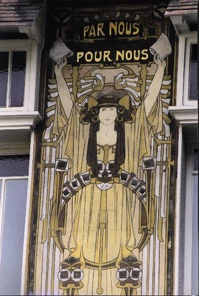 Art Nouveau in Brussels: Paul Cauchie, 1906. Maison Cauchie. Detail of sgraffito facade