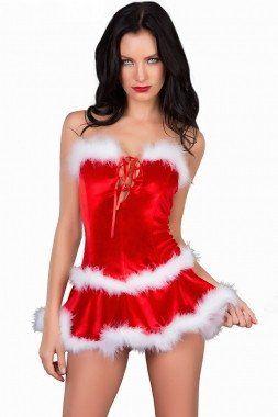 3pce Fur Trimmed Lace-up Bustier, Skirt Set.