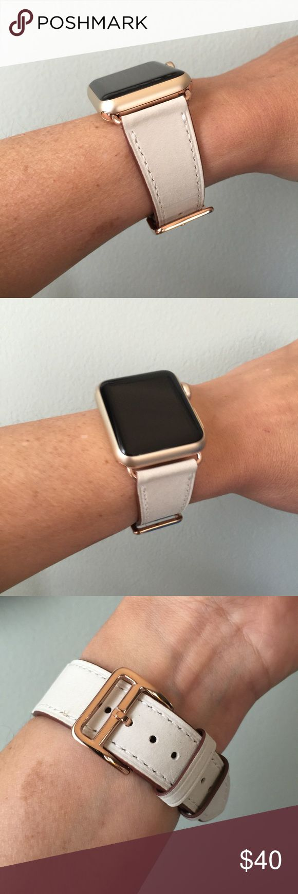 ROSE GOLD Beige Leather Apple Watch Band  Beige/Cream Leather band, it comes with 38mm or 42mm adapters. Please select your size when you purchase. The adapters fit the Apple Watch I, 2 and Sport.   I have other band colors, hardware colors and styles in my closet. Check them out!   I offer 15% off if you buy two or more! Please add BOTH items to the bundle for the discount to automatically apply.    Only the band is for sale; does not include the watch. ⌚️ Other