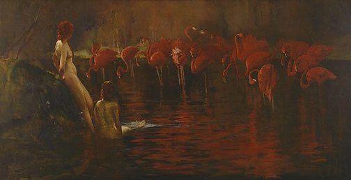 Sydney Long  (Australia, England 20 Aug 1871–23 Jan 1955)    Title  Flamingoes  Year  (1902)  Media
