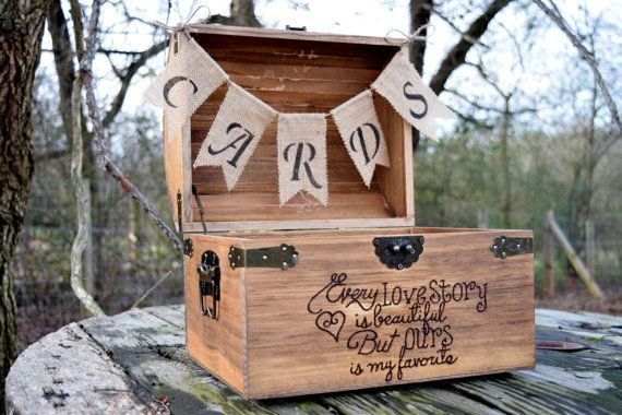Large Shabby Chic and Rustic Wooden Card Box by CountryBarnBabe