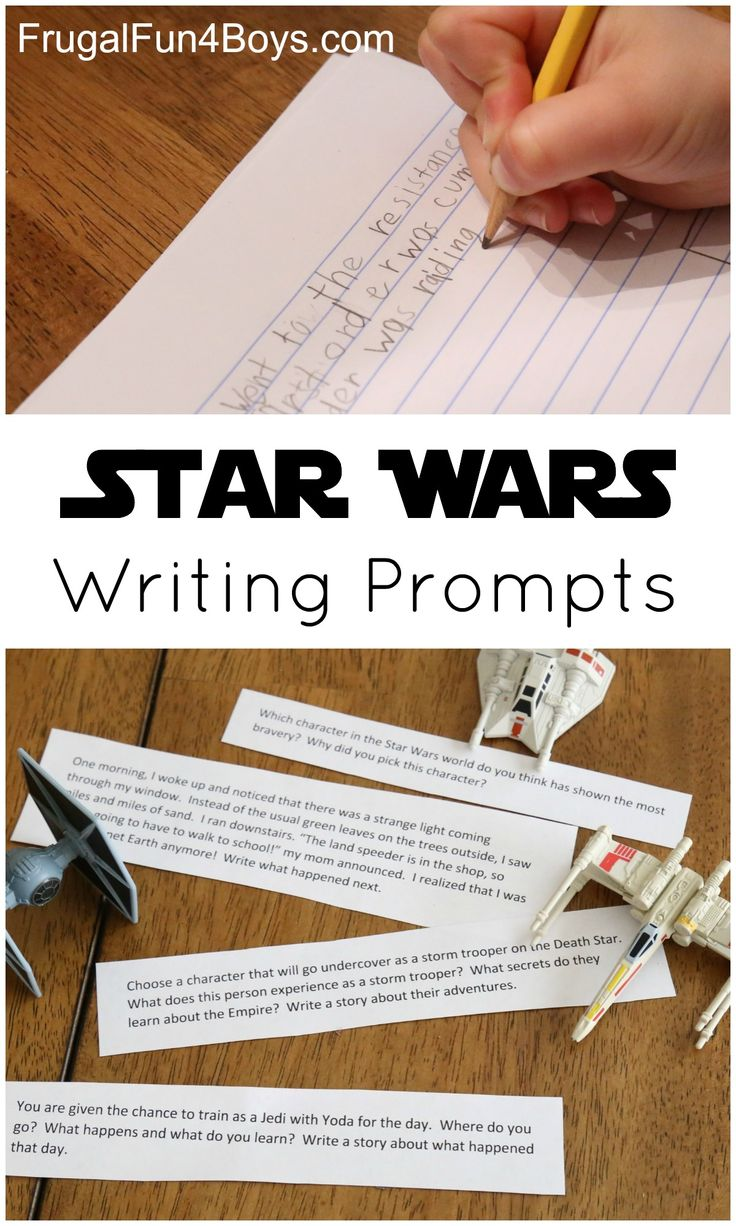Printable Star Wars Writing Prompts - Free to print.  Ideal for 3rd-6th grade students but can work for younger kids too.  Prompts include narrative, persuasive, how-to, compare/contrast, and descriptive writing.