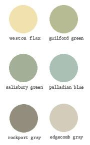 Benjamin Moore Paint Swatches -Historical Collection Edgecomb gray - living room Rockport gray - entryway or Bedroom1 Weston flax - bedroom1 Palladian blue - bedroom2 Guilford green - master bedroom **Plus a link to baby box**