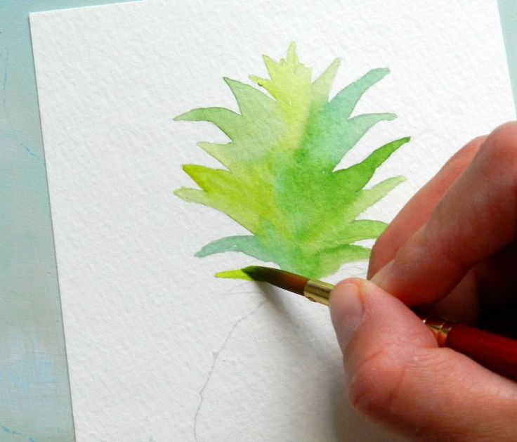 Paint a Watercolor Pineapple with this free tutorial and template. By Grow Creative