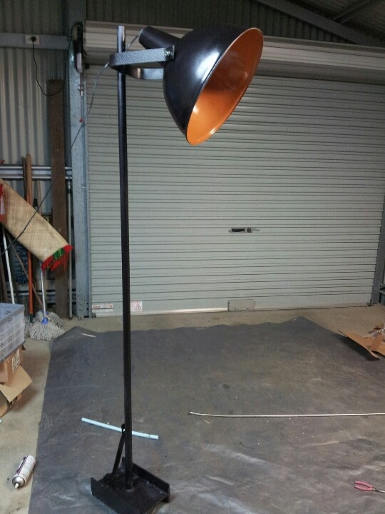 Industrial lamp stand rescued from dump