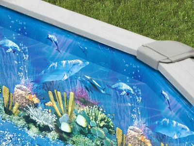 24 Round Antilles Dolphin Overlap Swimming Pool Liner