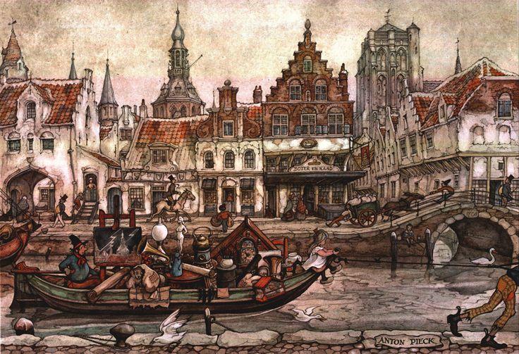 Dutch canal, Anton Pieck
