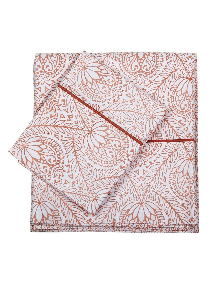 Set of Coral Cotton Marrakech Flat Sheet and 2 Pillow Case #available online on jaypore.com #bedlinen #blockprint #patterns #contemporary #cotton