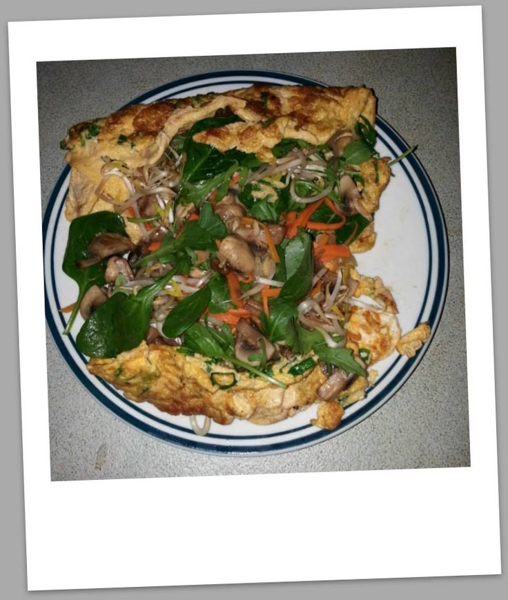 Tuna omelette with mushroom & other veg - for breakkie