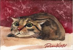 Tabby Fuzzy Cat Greeting Card Art 5x7 from my Original Watercolor Painting