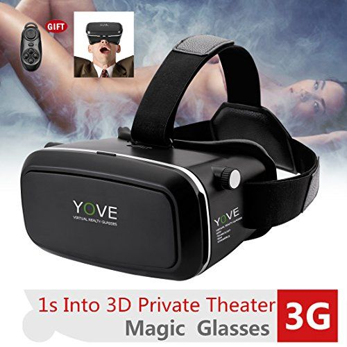 Yove 3D VR Glasses 3D VR Headset Virtual Reality Box with Adjustable Lens  and Strap for