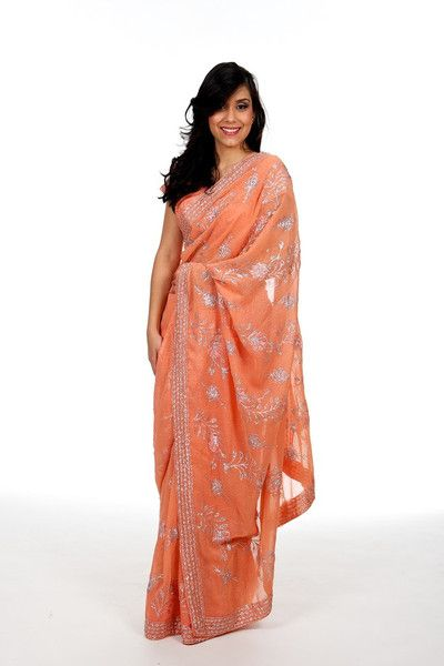 Rent or Buy Indian wedding sari saree orange and silver with ready-made pre-stitched blouse | Saris and Things