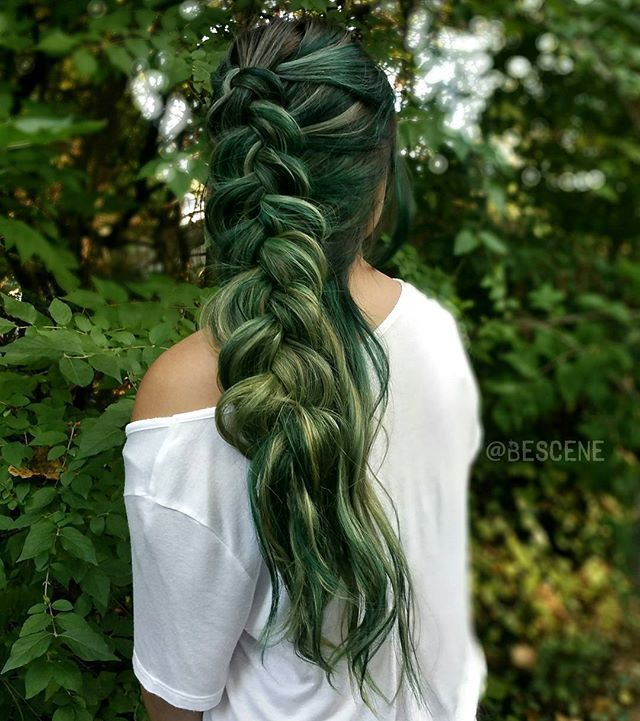 """Adapt to your surroundings."" CAMOUFLAGE inspired haircolor!! Using the NEW @PRAVANA •BLACK•! Adding small doses to each color to create these beautiful shades of green and olive! Braided by my amazing assistant @maayanbescene! Model @1004mml #BESCENE"