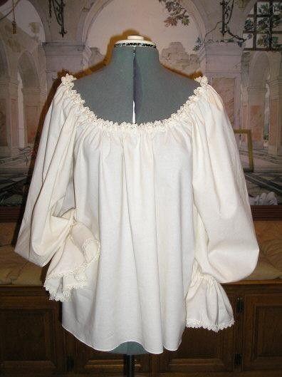Renaissance Chemise Poet Blouse, Cotton with lovely Venise Lace Trim. $55.00, via Etsy.