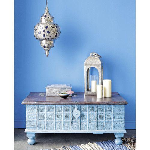 Lampada a sospensione blu in metallo cesellato e vetro D 31 cm IRAKLIA