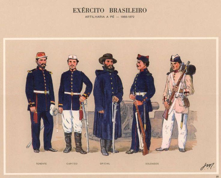 Brazil; War of The Triple Alliance, 1866-72, Foot Artillery. Lieutenant, Captain, Officer & 2 Gunners
