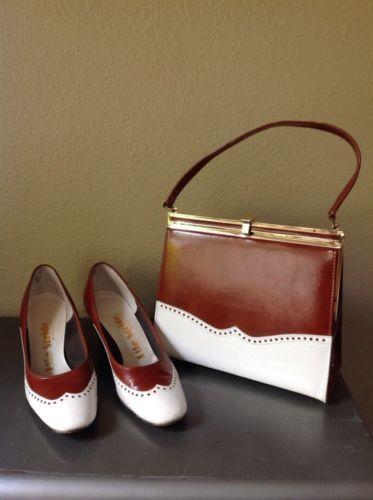 60's Vintage Matching Wing Tip Shoe Purse Set