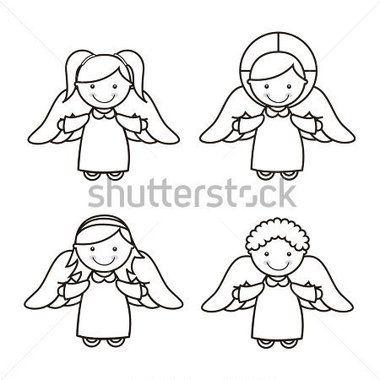 白い背景の上の天使の漫画。ベクトル イラスト