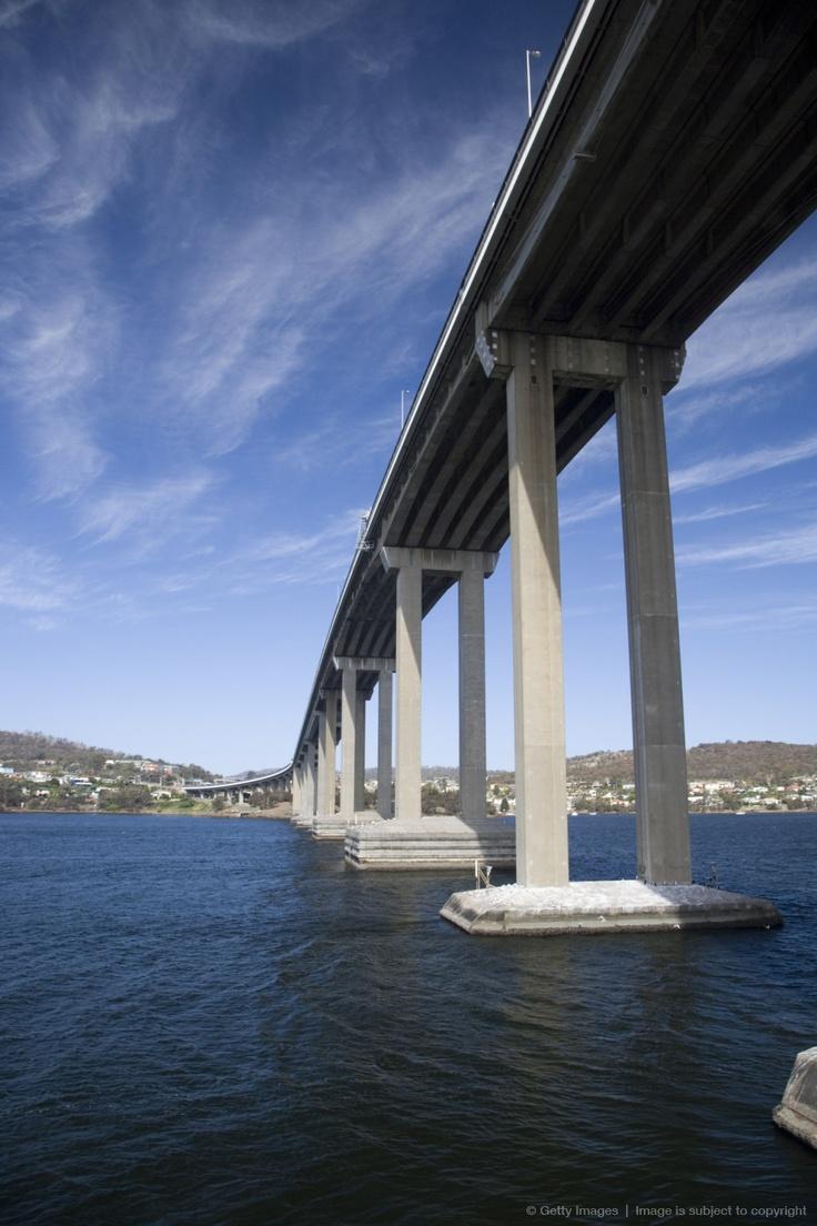 Australia, Tasmania, Hobart. The Tasman Bridge over the Derwent River.