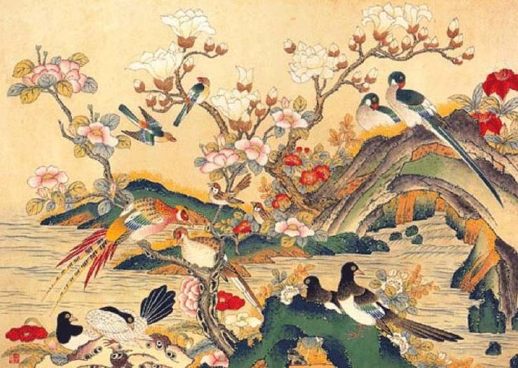 minwha_korean_folk_art__flowers_and_birds_by_kimsingu-d7mr639.jpg (743×528)