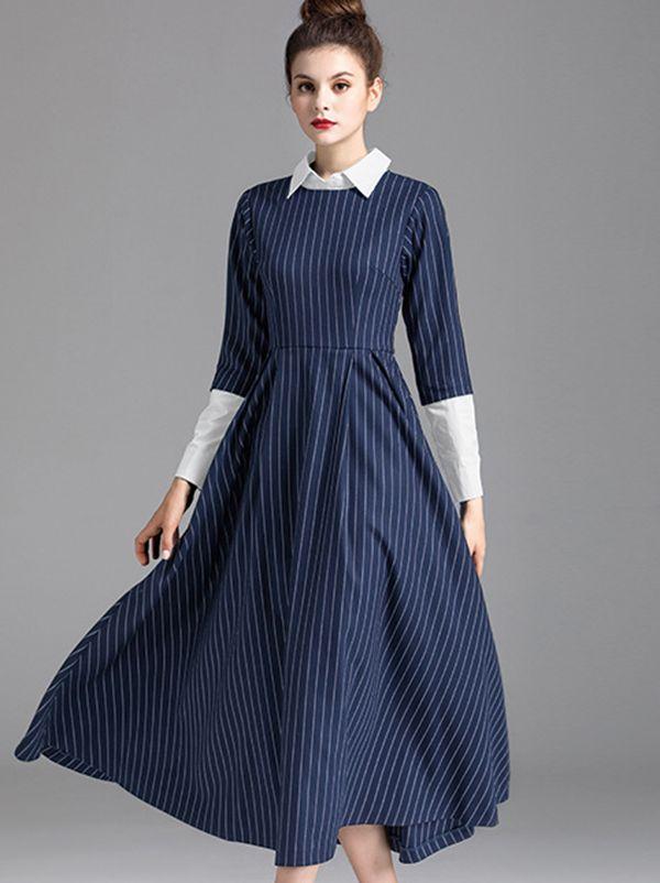 5aba7614dd7fc5 Fake Two Piece Stripe Turn-Down Collar A-Line Dress