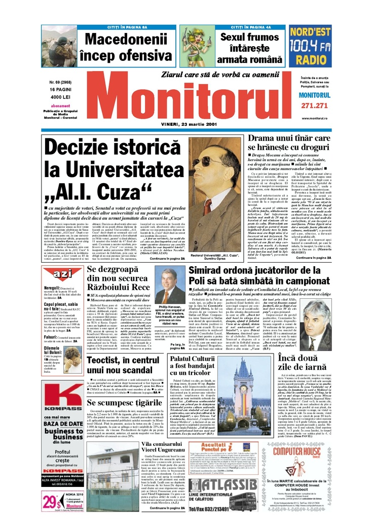 Monitorul din 23 martie 2001