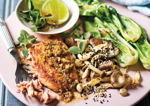 Seared Salmon On Garlic-And-Ginger Mushrooms With Bok Choi And Sesame