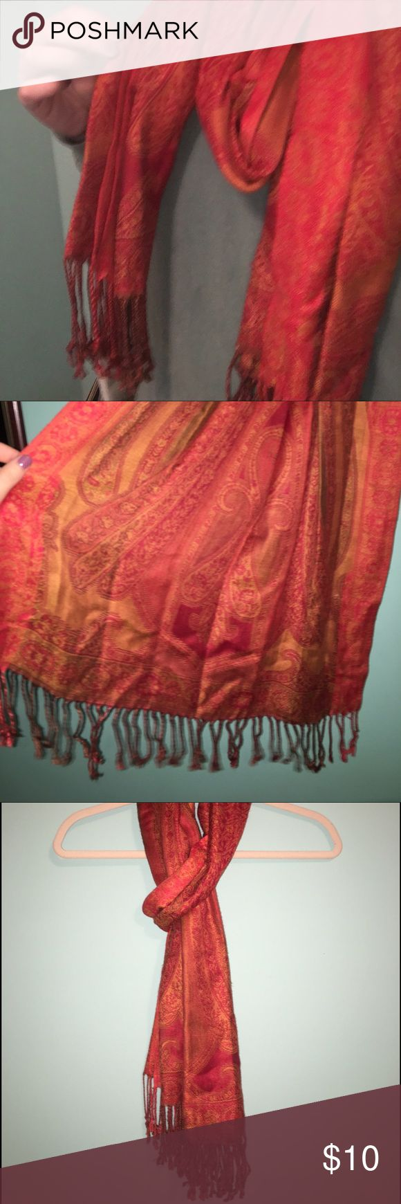 Orange and red pashmina afghan scarf Orange and red patterned scarf ~~ thicker material with a beautiful, intricate pattern Accessories Scarves & Wraps