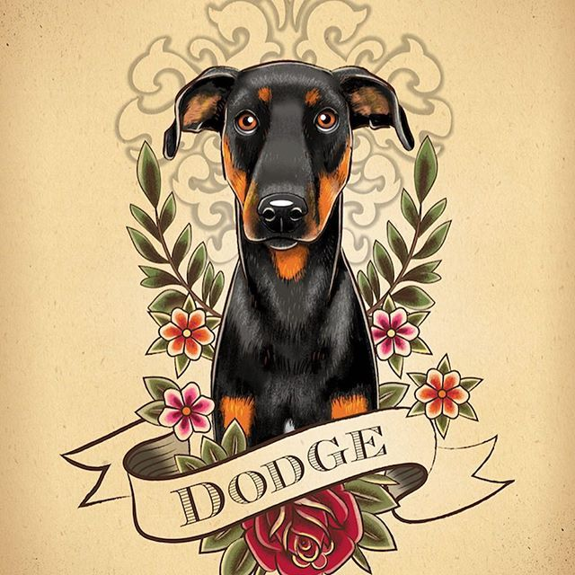 Got a request for something incorporating elements from the gift recipient's existing tattoos and I think it turned out really cool #petportrait #dogportrait #dobermanpinscher #doberman #cutedog #prettydog #rose #oldschooltattoo