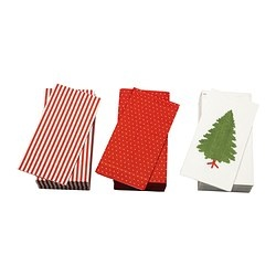 """JULFINT paper napkin, assorted patterns Length: 15 """" Width: 15 """" Package quantity: 30 pack Length: 38 cm Width: 38 cm Package quantity: 30 pack $1.99 (red & white stripes)"""