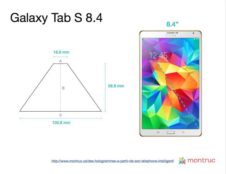 Mesures pour construire un projecteur d'hologramme 3D avec un boîtier de CD sur Galaxy Tab S 8.4 A= 16.8mm |  B= 58.8mm |  C= 100.8mm