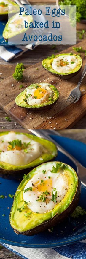 """Eggs Baked in Avocados. Paleo avocado eggs are a quick and easy way to bake eggs and add heart healthy fats to your diet."""" width="""