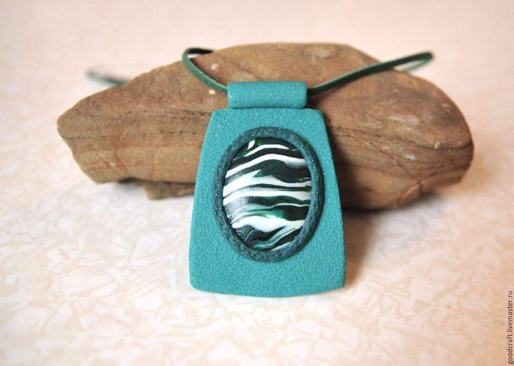"""Купить Кулон """"Малахит"""" - малахит, зеленый камень, сочный зеленый, полосы, Кулон ручной работы"""