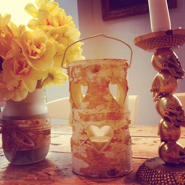 Spring table at home. I love daffs in the spring to add a touch of colour to a tea party