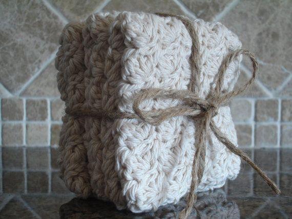 100 Cotton Wash Cloths  Crochet Dish Cloth  Ecru by DebzDoodlez, $10.00