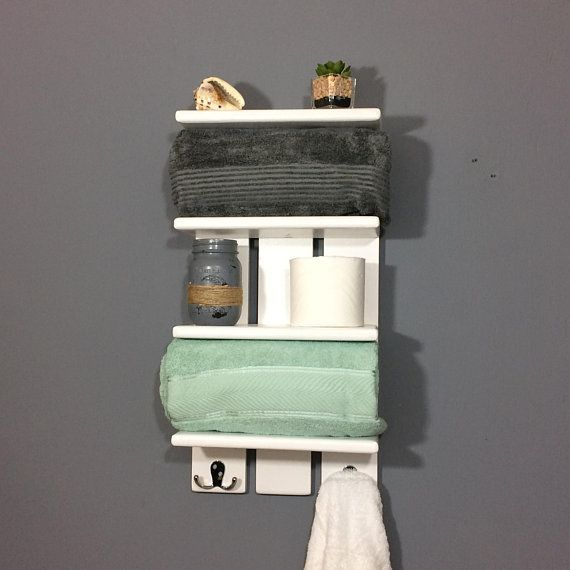 White Coastal Towel Rack With Hooks Bathroom Shelf With Hooks Rolled Towel Rack Solid White Wall Shelf For Towels Bathroom Towel Shelves White Wall Shelves Towel Rack Bathroom Shelves For Towels