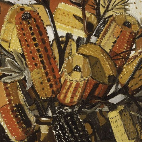 Margaret Preston, Australian artist: 'The brown pot' 1940 (detail) Art Gallery of New South Wales. Banksia