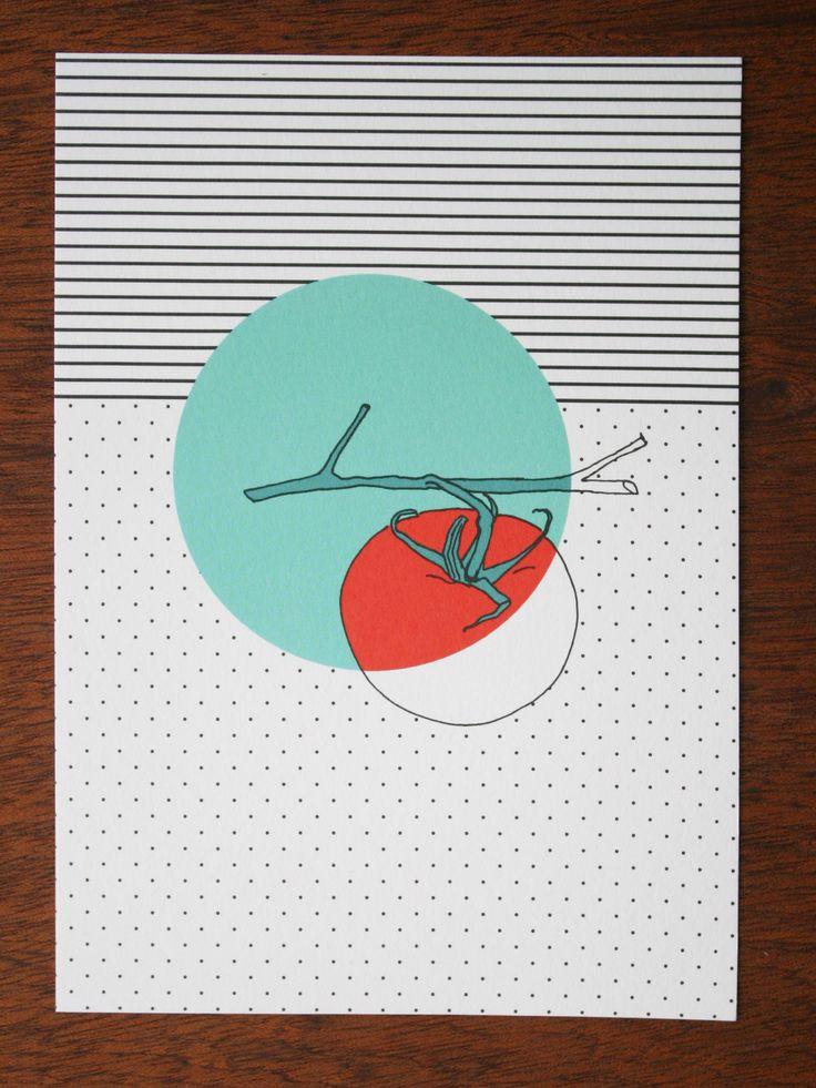 postcard - polypodium - graphic design - illustration - tomato - tomate
