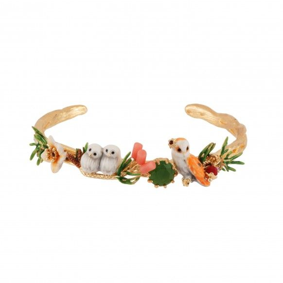 Owl and her nestlings on their flowered branch bangle (S)