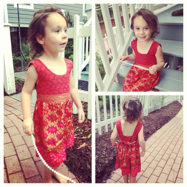 Kids style - summer dress, red dress, eyelet and ikat summer fashion