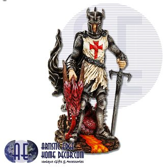 """Crusader Warrior w Sword & Dragon Head Excellently hand painted Crusader with sword in hand and Dragons head in other.  Hand Painted  Cold Cast Resin  H: 12"""""""
