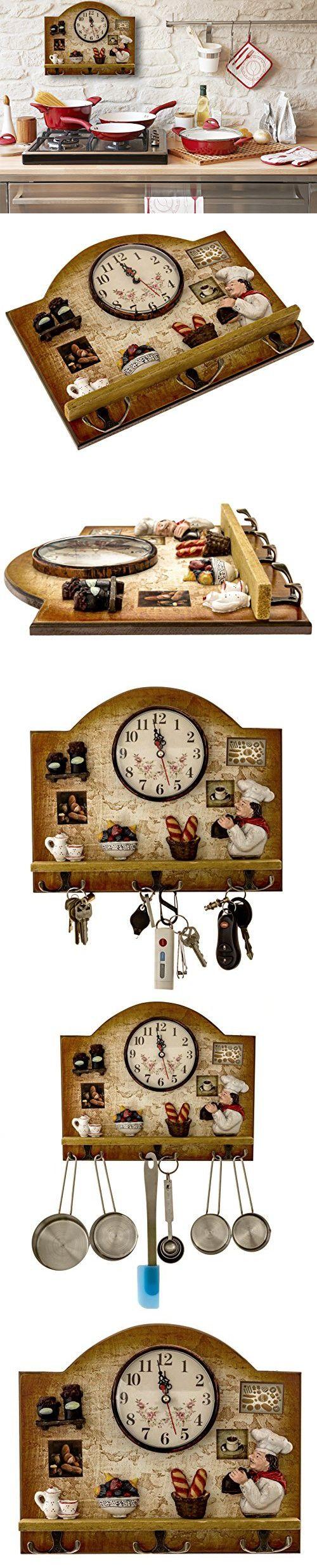 Heartful Home Fat Italian Chef Kitchen Decor Clock with Hooks - Unique Idea for a Wedding or Housewarming Present