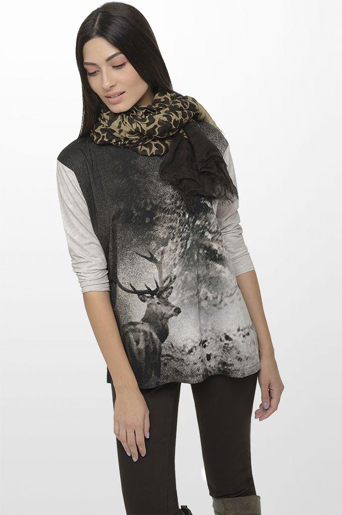 Sarah Lawrence - 3/4 sleeve printed blouse, five pocket straignt leg pant, printed scarf.